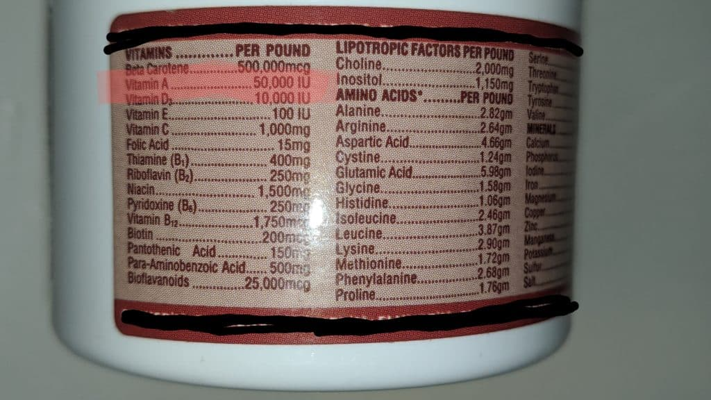 This one is no good, waaaaaay too much vitamin A!